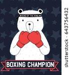 boxer bear  illustration vector ... | Shutterstock .eps vector #643756432