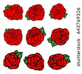 flowers roses  red buds and... | Shutterstock .eps vector #643769326