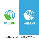 vector of planet and leaf logo... | Shutterstock .eps vector #643794985