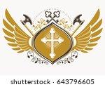 vintage decorative heraldic...   Shutterstock .eps vector #643796605