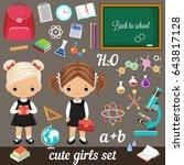 cute vector schoolgirls and set ... | Shutterstock .eps vector #643817128