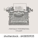 retro typewriter vector drawing ... | Shutterstock .eps vector #643850935