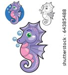Cute seahorse with bubbles - stock vector