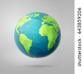 polygonal planet earth  western ... | Shutterstock .eps vector #643859206