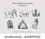 warm region animals drawings... | Shutterstock .eps vector #643859422