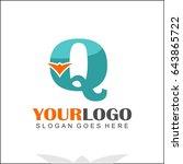 q letter orange bird design... | Shutterstock .eps vector #643865722