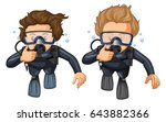 people scuba diving underwater... | Shutterstock .eps vector #643882366