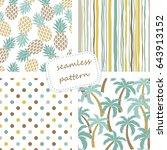 set of 4 vintage seamless... | Shutterstock .eps vector #643913152