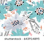 roughly drawn spring flowers... | Shutterstock .eps vector #643914895