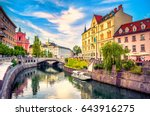 cityscape view on ljubljanica... | Shutterstock . vector #643916275