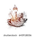 ramadan kareem iftar party... | Shutterstock .eps vector #643918036