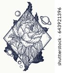 esoteric rose tattoo art and t... | Shutterstock .eps vector #643921396