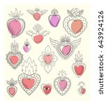 sacred mexican heart doodle set | Shutterstock .eps vector #643924126