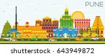 pune skyline with color... | Shutterstock .eps vector #643949872