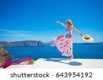 free happy woman enjoying life... | Shutterstock . vector #643954192