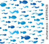 painted fish pattern. seamless... | Shutterstock .eps vector #643959628