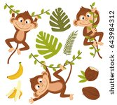set of isolated monkey with... | Shutterstock .eps vector #643984312