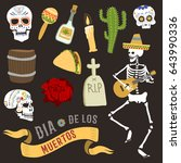 colorful symbols for dia de los ... | Shutterstock .eps vector #643990336