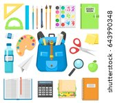 school bag backpack full of... | Shutterstock .eps vector #643990348