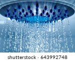 shower head with flowing drops... | Shutterstock . vector #643992748
