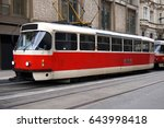 tram in prague  czech republic | Shutterstock . vector #643998418