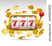 golden slot machine wins the... | Shutterstock .eps vector #644002402