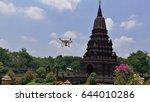 Drone Flying At Pagoda.  Pagod...