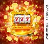 golden slot machine wins the... | Shutterstock .eps vector #644010646