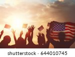 patriotic holiday. silhouettes... | Shutterstock . vector #644010745