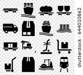 freight icons set. set of 16...