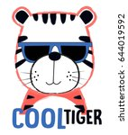 cool tiger illustration vector... | Shutterstock .eps vector #644019592