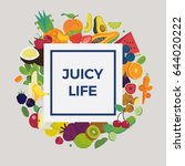 cool vector fruit background... | Shutterstock .eps vector #644020222