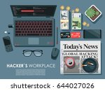 hacker s work place top view... | Shutterstock .eps vector #644027026