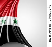 syria flag of silk with... | Shutterstock . vector #644027878