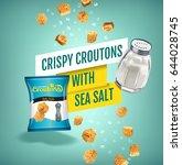 crispy croutons ads. vector... | Shutterstock .eps vector #644028745