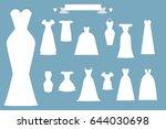 the set of wedding dresses | Shutterstock .eps vector #644030698
