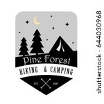 pine forest hiking and camping... | Shutterstock .eps vector #644030968