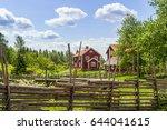 swedish farm in the old idyllic ... | Shutterstock . vector #644041615