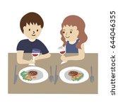 man lifestyle having dinner on... | Shutterstock .eps vector #644046355