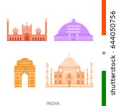 sights of india  icons of... | Shutterstock .eps vector #644050756