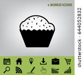 cupcake sign. vector. black... | Shutterstock .eps vector #644052832