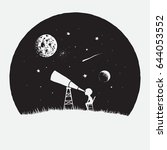 little boy astronomer looks to... | Shutterstock .eps vector #644053552