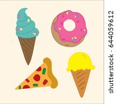 ice cream  donut  pizza | Shutterstock .eps vector #644059612