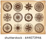 vintage nautical compasses... | Shutterstock .eps vector #644073946