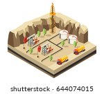 isometric oil industry template ... | Shutterstock .eps vector #644074015