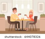 Loving couple is drinking coffee in a cafe. A man and a woman are sitting at a table in a cozy restaurant. Vector illustration in a flat style | Shutterstock vector #644078326