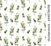 seamless floral pattern with... | Shutterstock . vector #644078458