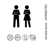 man and woman with crossed arms ... | Shutterstock .eps vector #644084782