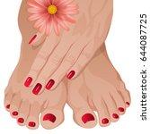 female hands applying cream on...   Shutterstock .eps vector #644087725