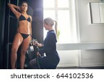 beautician using aerograph for... | Shutterstock . vector #644102536